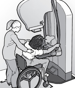 Drawing of a nurse assisting a woman in a wheelchair while she gets a mammogram