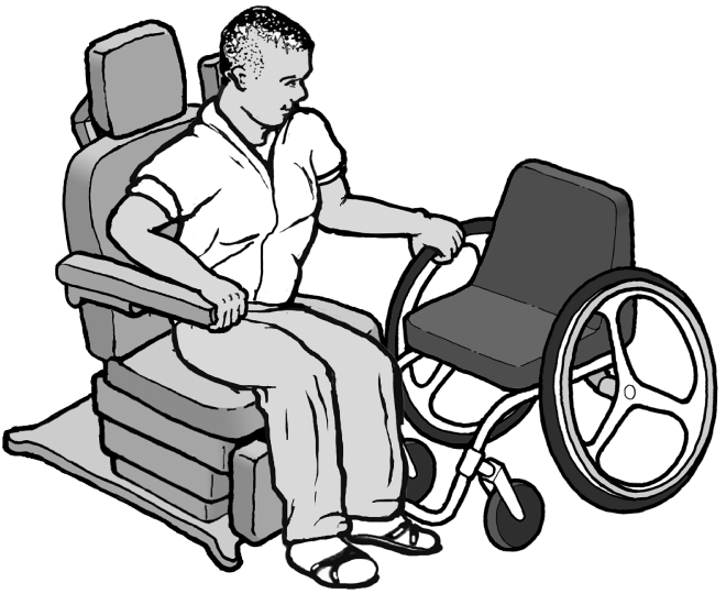 Drawing of a man transferring himself from a wheelchair to an accessible exam chair.