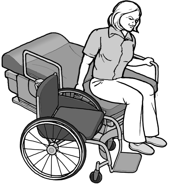 Drawing of a woman transferring herself from an exam table to a wheelchair.