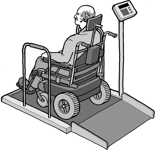 Drawing of a man in a power wheelchair on an accessible scale that can accomdate his wheelchair.