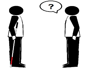 Two stick figures facing each other. One holds a long cane. Question mark in a quote bubble