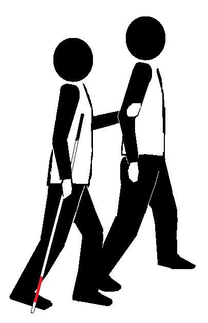 Two stick figures traveling in basic technique. One holds a long cane