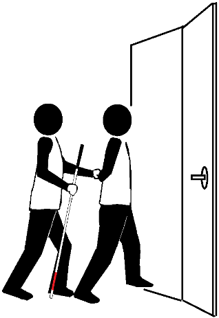 Two stick figures traveling through a doorway. One holds a long cane