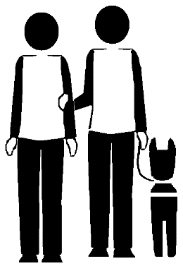 Two stick figures in basic technique. One holds the leash of a dog guide