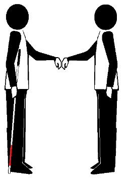 Two stick figures in initial contact. One holds a long cane