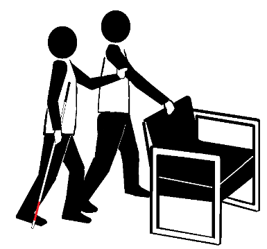 Two stick figures behind a chair. One holds a long cane