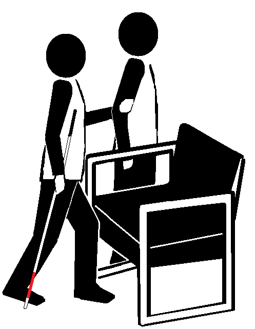 Two stick figures near a chair. One holds a long cane and faces the chair