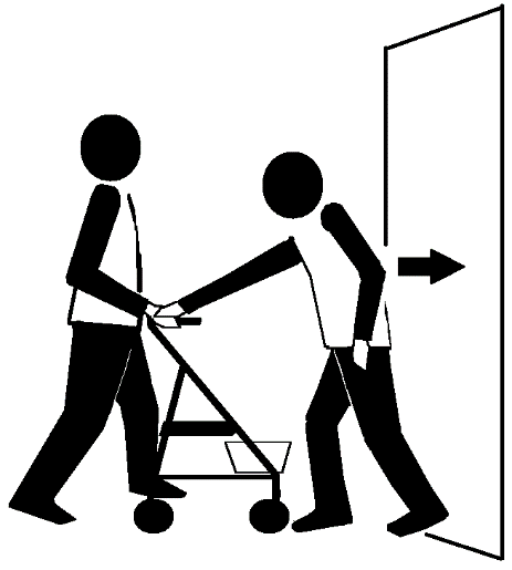 Two stick figures in front of a narrow passage. One has a 4-wheeled walker