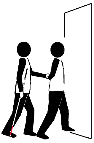 Two stick figures traveling in a narrow passage. One holds a long cane