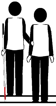 Two stick figures on stairs. One holds a long cane