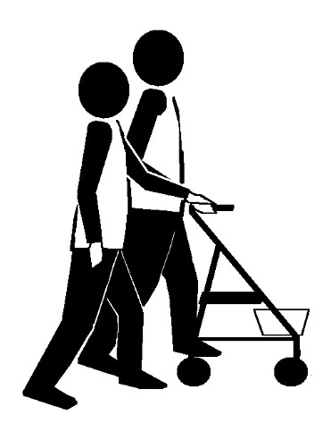 Two stick figures in basic technique. One has a 4-wheeled walker