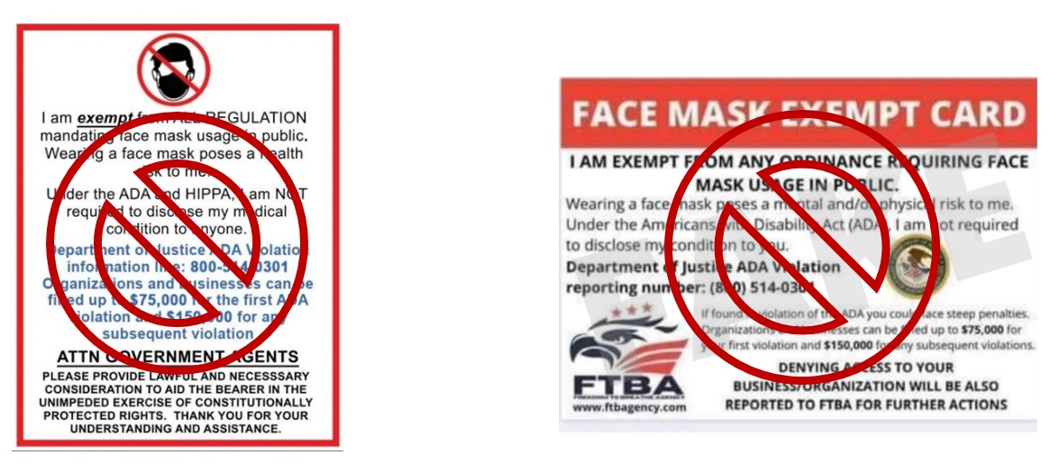 Face mask flyer with not allowed symbol placed over it. Face mask exemption card with not allowed symbol placed over it