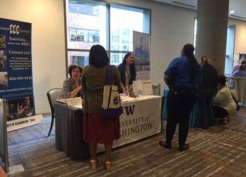 Linda and Bianca tabling for the NW ADA Center at the CIT Conference